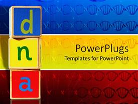 PowerPoint template displaying blue, yellow and red wooden blocks with DNA letters on blue, yellow and red panels with DNA strands