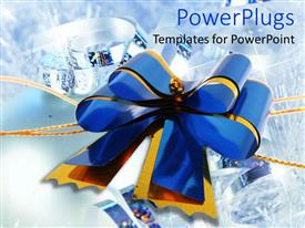 PowerPoint template displaying blue and yellow ribbon made into celebration bow on shiny background