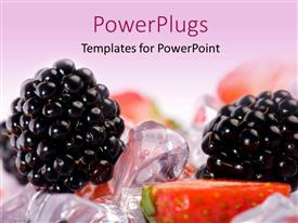 PowerPlugs: PowerPoint template with a blueberry with a lot of ice cubes in the background