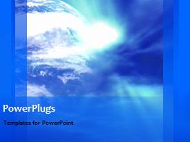 PowerPoint template displaying a bluish global background with a bullet point