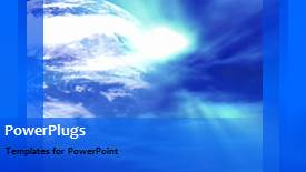 PowerPoint template displaying a bluish global background with a bullet point - widescreen format