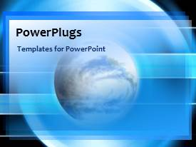 PowerPoint template displaying a bluish background with a globe