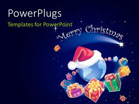 PowerPlugs: PowerPoint template with a bluish background and a globe