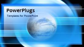 PowerPoint template displaying a bluish background with a globe - widescreen format