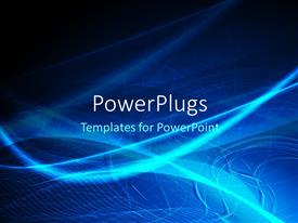 PowerPlugs: PowerPoint template with a bluish background with lines and waves