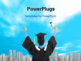 PowerPlugs: PowerPoint template with a bluish background with a sentence and a graduate