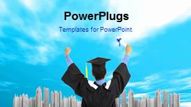 PowerPlugs: PowerPoint template with a bluish background with a sentence and a graduate - widescreen format