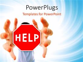PowerPlugs: PowerPoint template with a bluish background and the sign of help