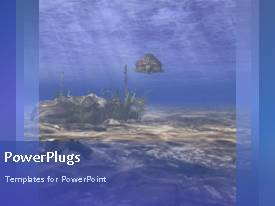 PowerPlugs: PowerPoint template with a bluish background with a tortoise