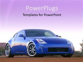 PowerPlugs: PowerPoint template with a bluish car with sky in the background