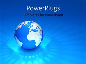 PowerPlugs: PowerPoint template with the bluish globe with bluish background