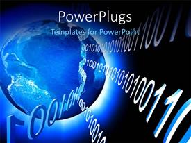 PowerPlugs: PowerPoint template with a bluish globe with a lot of binary numbers