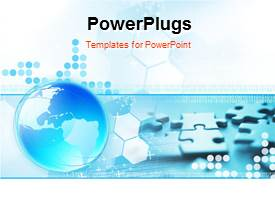PowerPlugs: PowerPoint template with a bluish globe with a number of puzzle pieces in background