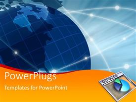 PowerPlugs: PowerPoint template with a bluish globe with a pie chart