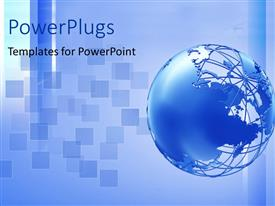 PowerPlugs: PowerPoint template with a bluish globe with a umber of blue boxes in background