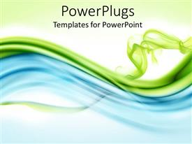 PowerPoint template displaying bluish and greenish waves with green background