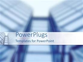 PowerPoint template displaying blurred background with glass skyscraper rising into sky