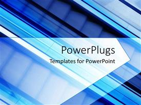 PowerPlugs: PowerPoint template with blurred birdseye close up depiction of escalators on blue background
