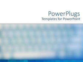 PowerPoint template displaying blurred computer keyboard with hue blue and white background