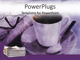 PowerPlugs: PowerPoint template with blurred depiction of coffee cup on saucer and teaspoon, newspaper eyeglasses and stack of newspapers