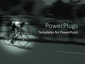 PowerPoint template displaying blurred depiction of a cyclist on a bike on road with blurred cars