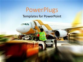 PowerPlugs: PowerPoint template with blurred depiction of plane waiting in the airport with luggages and airport worker