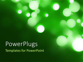 PowerPoint template displaying blurred lights Circular Bokeh on Green Background