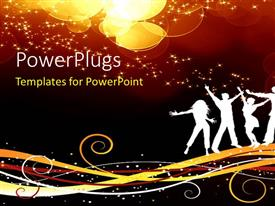 PowerPlugs: PowerPoint template with a silhouette of men and women over a music theme