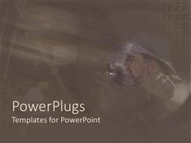 PowerPlugs: PowerPoint template with blurry depiction of contractors on a brown colored background