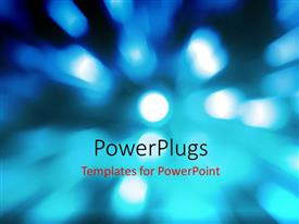 PowerPlugs: PowerPoint template with blurry depiction with light glow on blue surface