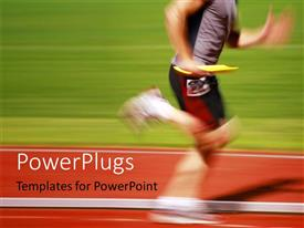 PowerPlugs: PowerPoint template with blurry runner in a relay race carries the baton to the next runner with green grass