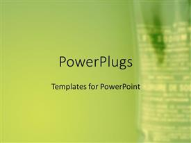 PowerPlugs: PowerPoint template with blurry side view of a hanging drip on a green background