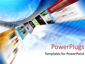 PowerPlugs: PowerPoint template with a blurry view of many tiles with different images