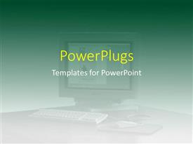 PowerPlugs: PowerPoint template with a blurry view of a monitor with images and a keyboard