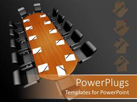 PowerPlugs: PowerPoint template with board room conference table with paper and pens, expenses, losses, earnings, profits arrows