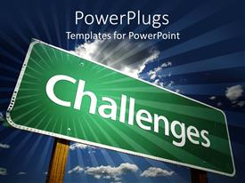 PowerPoint template displaying a board saying challenges in front while clouds in the background