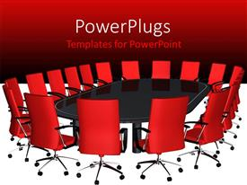 PowerPlugs: PowerPoint template with boardroom with big black conference table and red seats