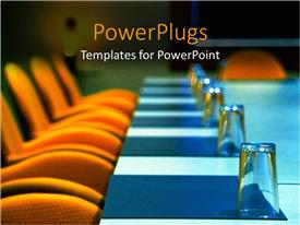 PowerPoint template displaying boardroom with orange seats, blue table and well placed glasses