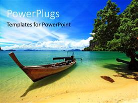 PowerPoint template displaying a boat on the beach with beautiful sea in the background
