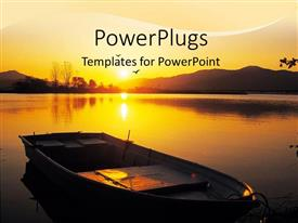 PowerPlugs: PowerPoint template with a boat on a calm sea and sunset view