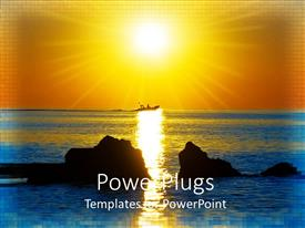 PowerPlugs: PowerPoint template with boat at a distance on sea with sun rays glowing