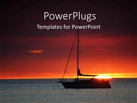 PowerPoint template displaying a boat inside the sea with sunset in background