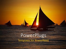 PowerPoint template displaying boat sailing in Ocean with sunset on the horizon