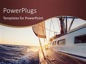 PowerPlugs: PowerPoint template with boat sailing into the Sunset scene
