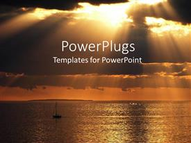 PowerPlugs: PowerPoint template with a boat in the sea and the clouds in the background