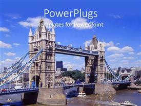 PowerPlugs: PowerPoint template with boats traveling under London's Tower Bridge over the Thames river