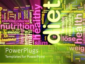 PowerPlugs: PowerPoint template with body image word cloud emphasizing healthy diet and nutrition