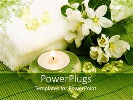 PowerPlugs: PowerPoint template with body relax composition with aromatic candle, flowers and crystal