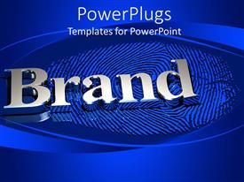 PowerPoint template displaying bold metallic Brand text with a finger print on a blue background
