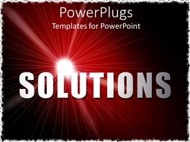 PowerPlugs: PowerPoint template with bold text 'SOLUTIONS' with sparkling white light on wine colored background